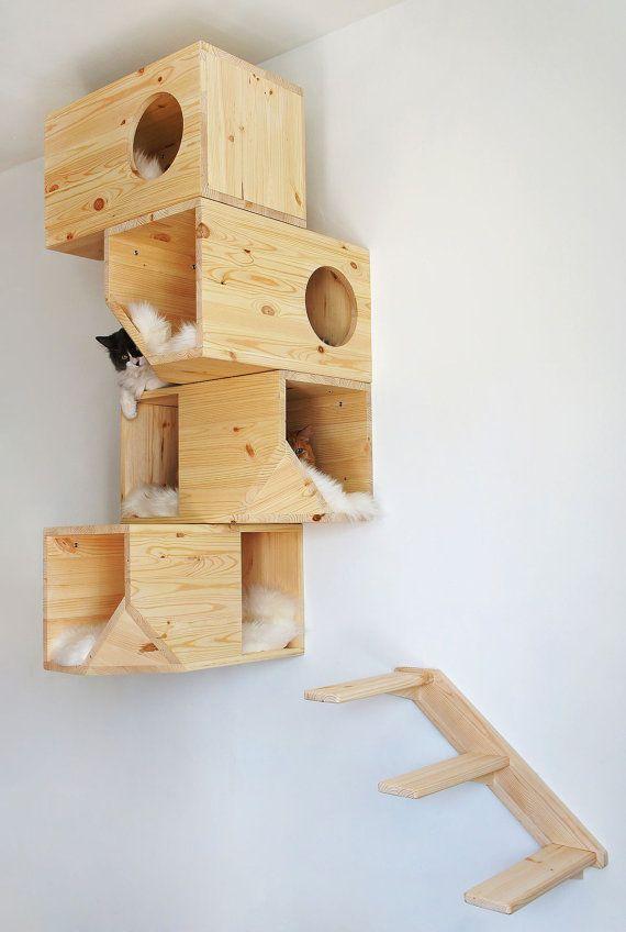 Casa de madera Modular Cat por CatissaCatTrees en Etsy