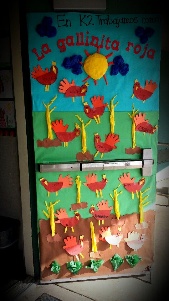 Little Red Hen Story Door Decoration With Students Art