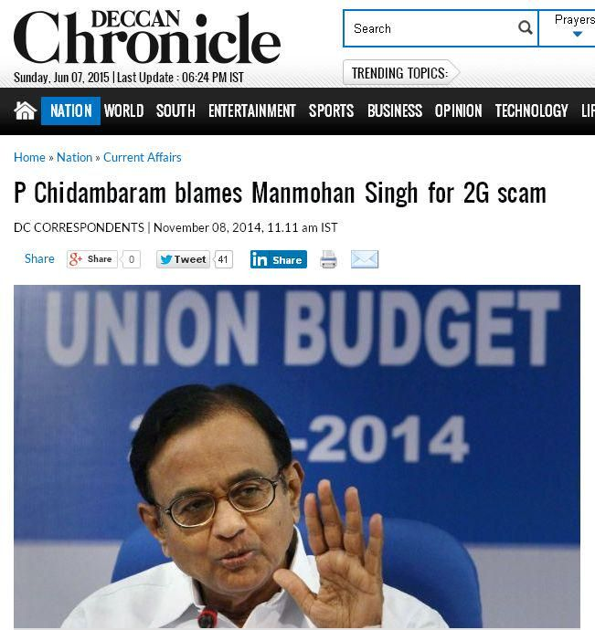 Hey @JhaSanjay Is @HuffingtonPost aware that @PChidambaram_IN blamed MMS for 2G scam? @OfficeOfRG