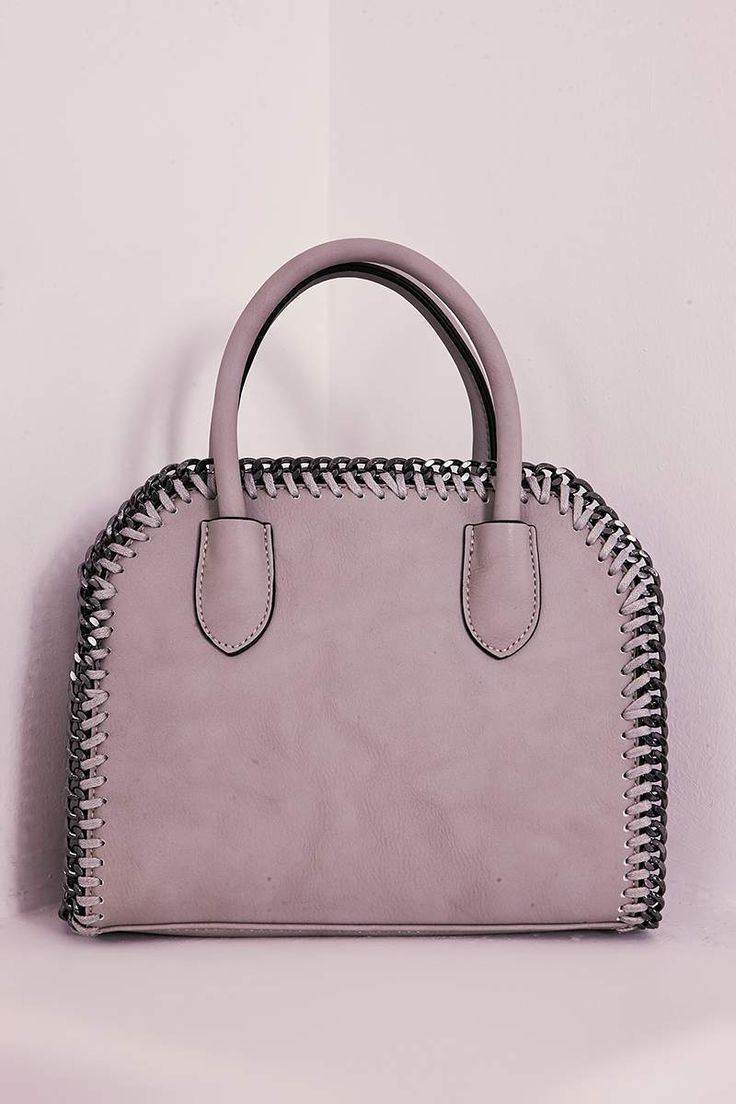 GREY FAUX LEATHER CHAIN TRIM BAG | In The Style