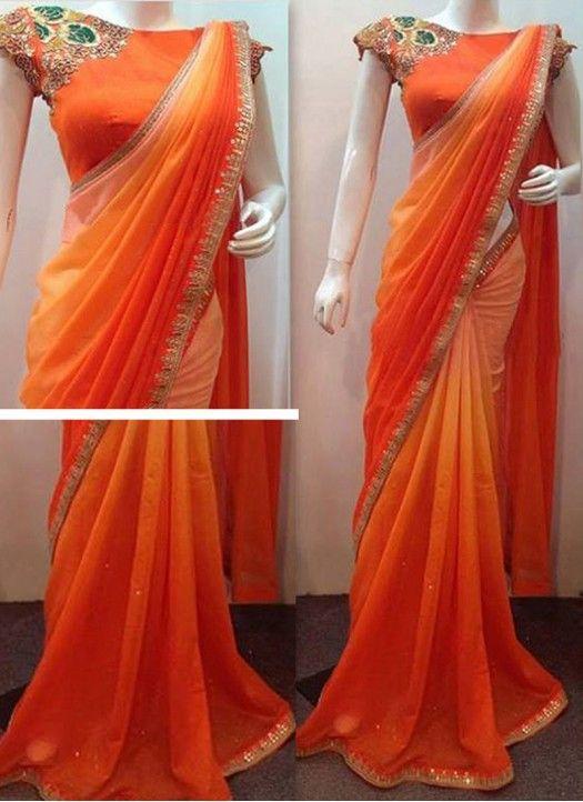 Buy Orange Padding Georgette Replica Saree