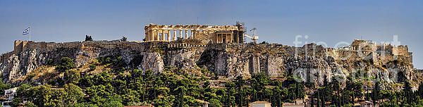 Super-wide panorama of the Acropolis in Athens with the Parthenon and Greek Flag in Spring. A rare glimpse without a lot of renovation cranes in view. Comprised of 4 images shot from our hotel balcony in Monastiraki