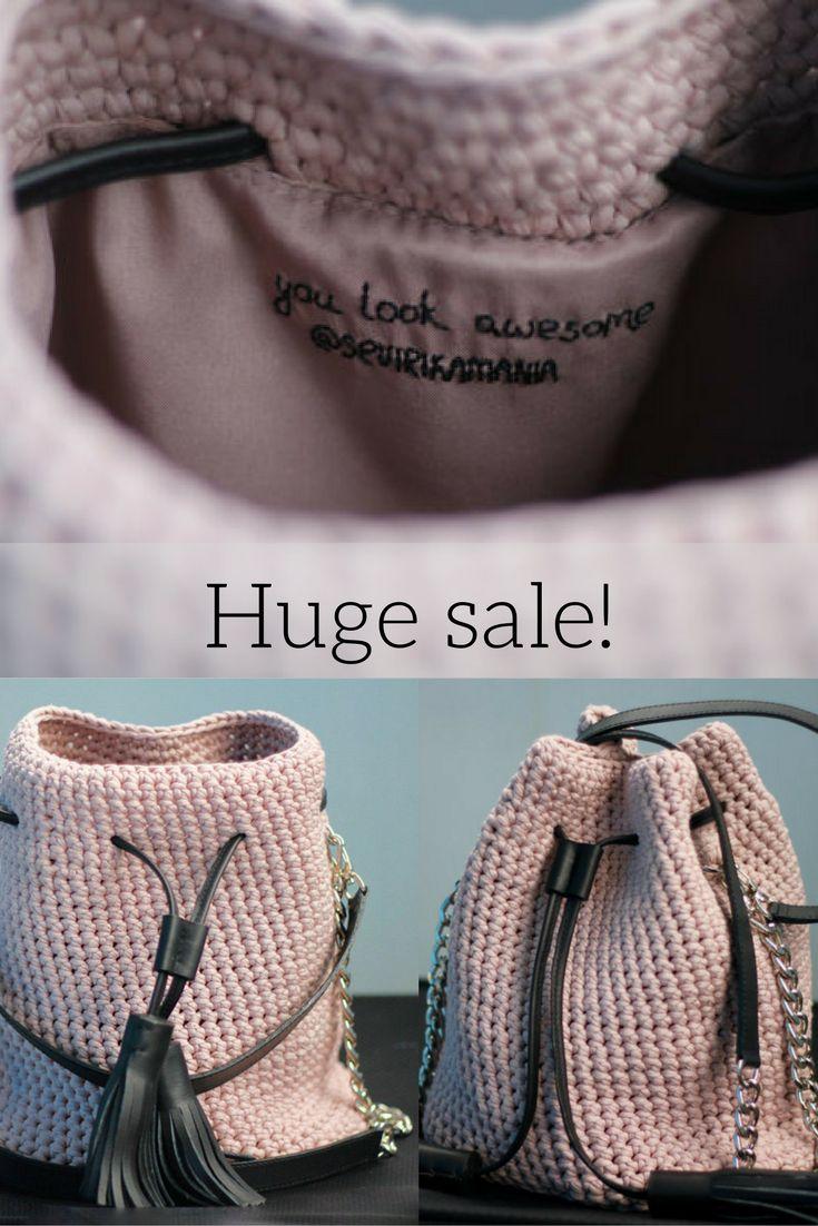 Huge sale on all crochet handbags. Crochet bucket bag, crochet crossbody bag, crochet clutch bag. The last chance to get crochet bags with 20% discount.