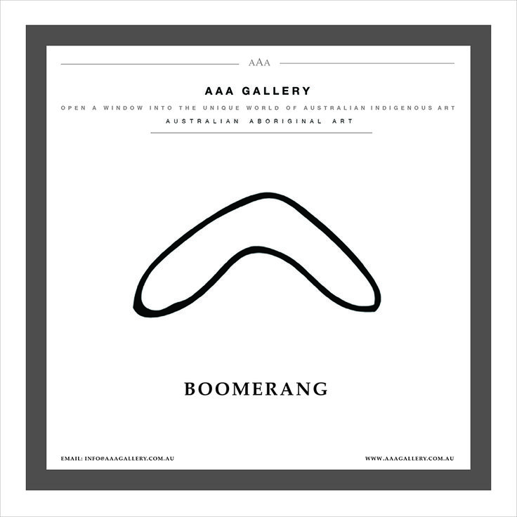 """AUSTRALIAN ABORIGINAL ART SYMBOL """"BOOMERANG"""" Boomerangs are throwing sticks which come in a wide variety of shapes. Boomerangs come in three types: returning, non-returning (hunting) and ceremonial.  Returning V shaped boomerang is designed to return to the thrower. Usually about 35 to 45 centimetres long. Sometimes they may be smaller or larger.   The returning boomerang was not primarily designed for hunting as it is too light and wouldn't guarantee a kill...."""