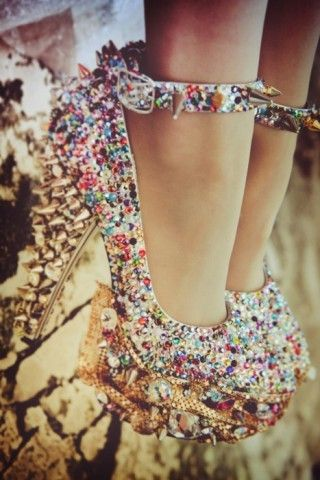 Totally impractical but I want them just to sit in.: Fashion, Spikes, Crazy Shoes, Bling Shoes, Sparkly Shoes, Candies, High Heels, Glitter, Bling Bling