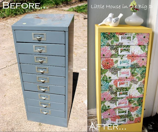 Upcycle an ugly old filing cabinet into pure awesomeness (spray paint and scrabooking paper mod podged on the drawer faces)--picture and directions