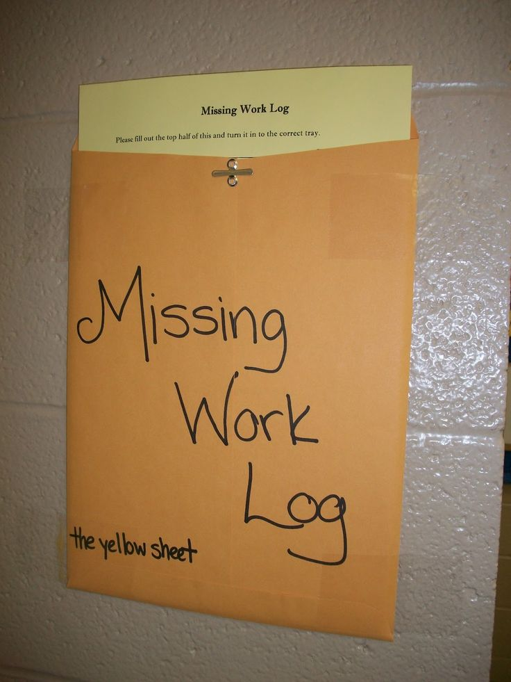 """If, for any reason, a student does not have their homework the day it is due they must fetch a yellow sheet from the envelope on the wall. They fill it out and turn it in the tray in place of the missing work. This yellow paper goes in my missing work binder. When the homework finally shows up, I keep half of the sheet in my binder and the other half gets stapled to the homework with the late score."""