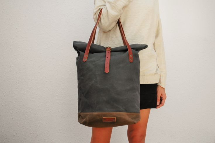 roll top Tote bag waxed canvas, charcoal/brown color ,with leather handles and closures,hand wax by NATURALHERITAGEBAGS on Etsy https://www.etsy.com/listing/203369663/roll-top-tote-bag-waxed-canvas