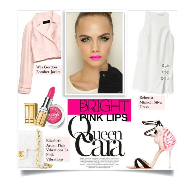 """""""Bright Pink Lipstick"""" by sofirose ❤ liked on Polyvore featuring beauty, Wes Gordon, Chanel, Bomedo, Clinique, Sophia Webster, Rebecca Minkoff, Elizabeth Arden, pinklips and spring2016"""
