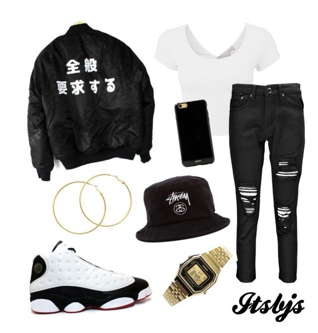 Stussy/black/white/Jordan13/dope by itsbjs on Polyvore featuring polyvore, мода, style, Boohoo, Casio, Melissa Odabash, Sonix and Stussy