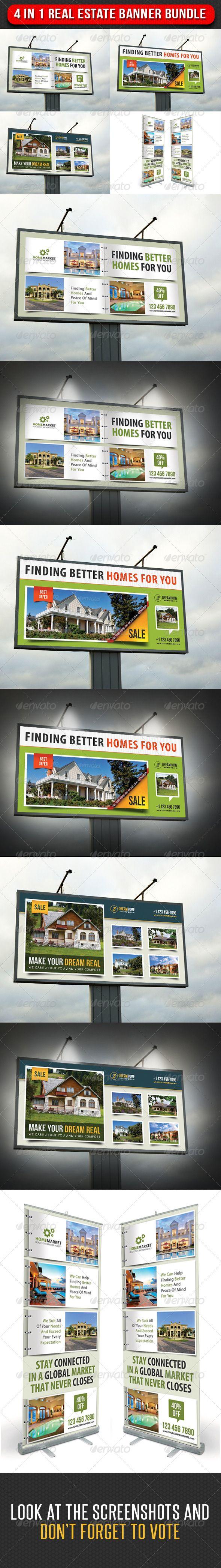 4 in 1 Real Estate Banner Bundle 03 — Photoshop PSD #outdoor banner #real esta…