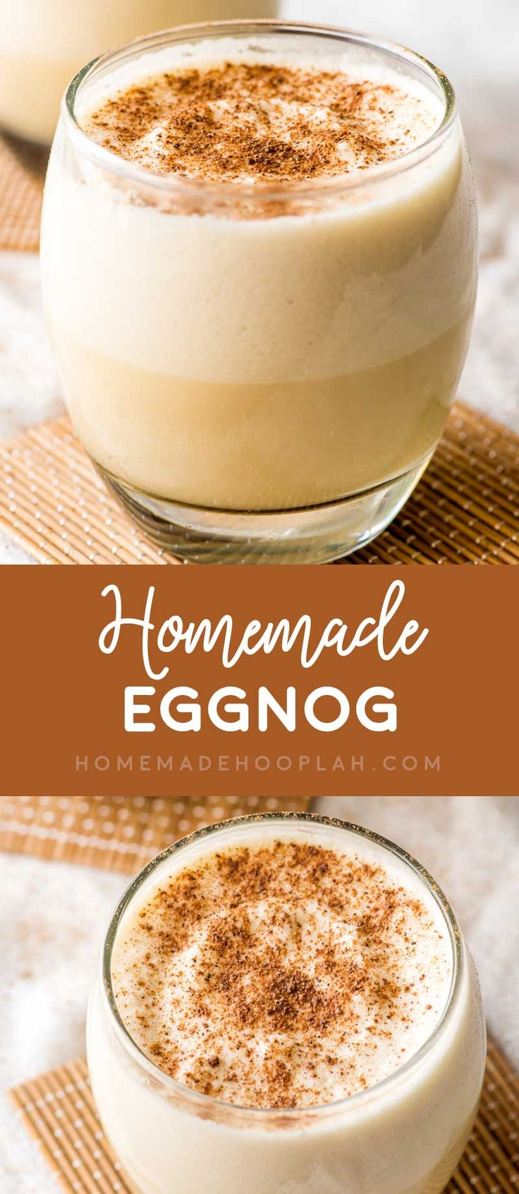 Homemade Eggnog! Classic eggnog made with egg yolks, cream, milk, a heavy pour of rum, and thickened with whipped egg whites. Serve it chilled with a dash of nutmeg on top. | HomemadeHooplah.com