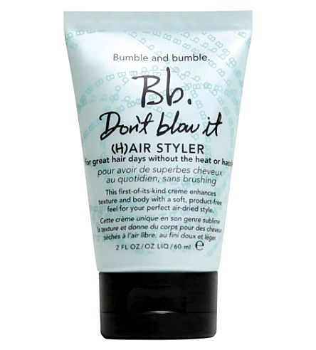 The No Blow-Dry Time Saver... Bumble & Bumble's Don't Blow It (H)Air Styler – a new launch that promises 'great hair days without the heat or hassle'. It's worth a try considering the cost.