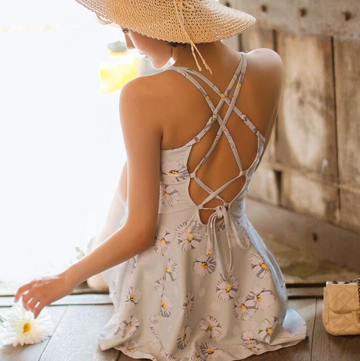 Sexy Crisscross Print Beach Dress
