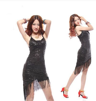 Women Performance latin dance clothes senior mesh sequins latin dance dress girls latin dance skirt latin dancing dresses