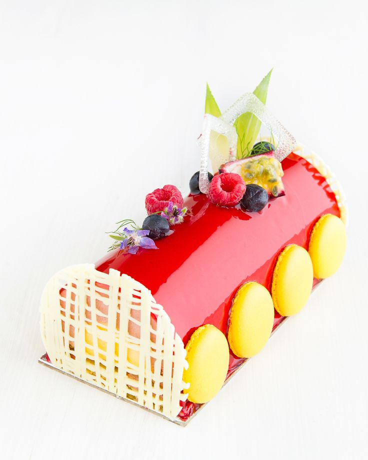 Raspberry and passionfruit buche de noel