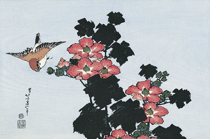 Hokusai/ Hibiscus and Sparrow, from an untitled Oban series of Flower and Bird