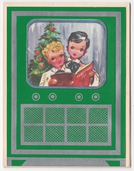 UNUSED Vintage Greeting Card Christmas TV Television Set Altar Choir Boys 1950s