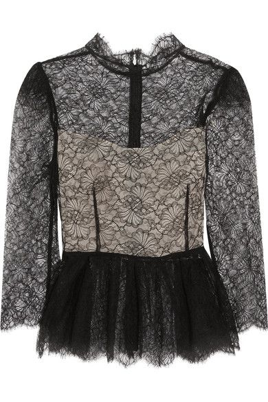 Black Chantilly lace  Concealed zip fastening along back 60% polyamide, 20% cotton, 20% viscose; fabric2: 100% polyester; lining: 100% silk Dry clean Made in England