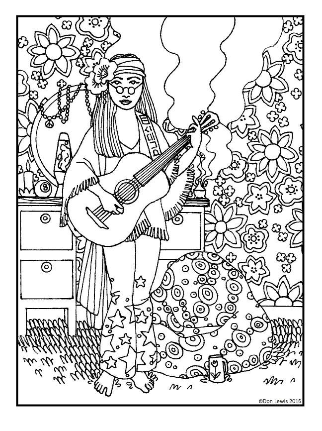hippie coloring pages free - photo#20