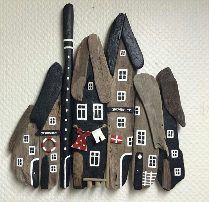 Scene made from painted driftwood, great use of smaller pieces