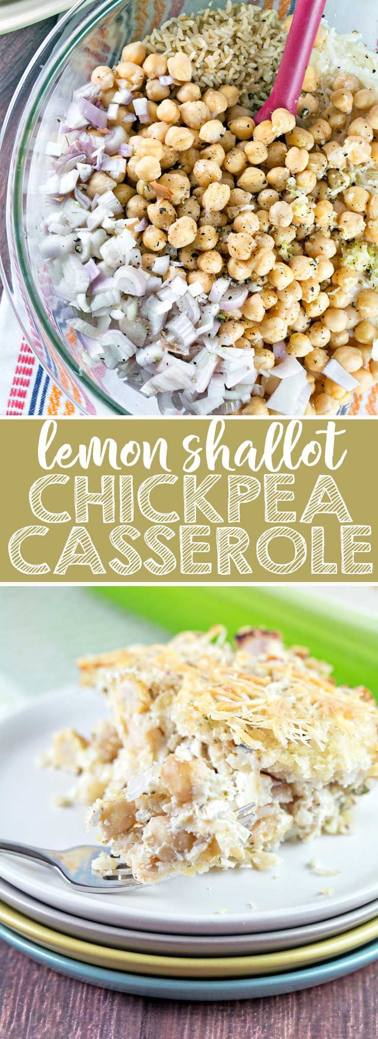Lemon Shallot Chickpea Casserole: a hearty yet light one-dish vegetarian casserole, full of protein and fresh flavors. Freezer friendly! {Bunsen Burner Bakery} #vegetarian #dinner #casserole #chickpeas via @bnsnbrnrbakery