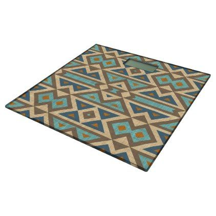 Brown Orange Teal Turquoise Eclectic Ethnic Look Bathroom Scale - western style diy unique customize stylish