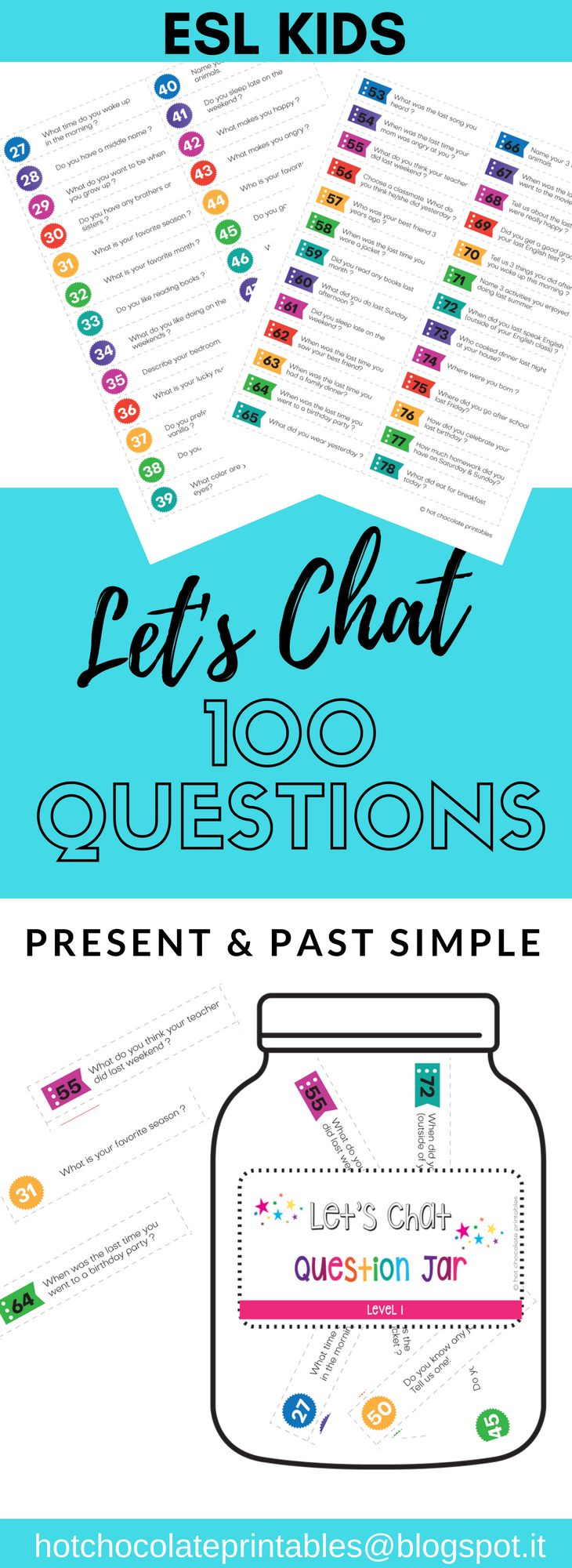 Get your kids talking with this cute Speaking Activity! Includes 100 Present Simple and Past Simple Conversation Questions and Jar labels! Print and Go!