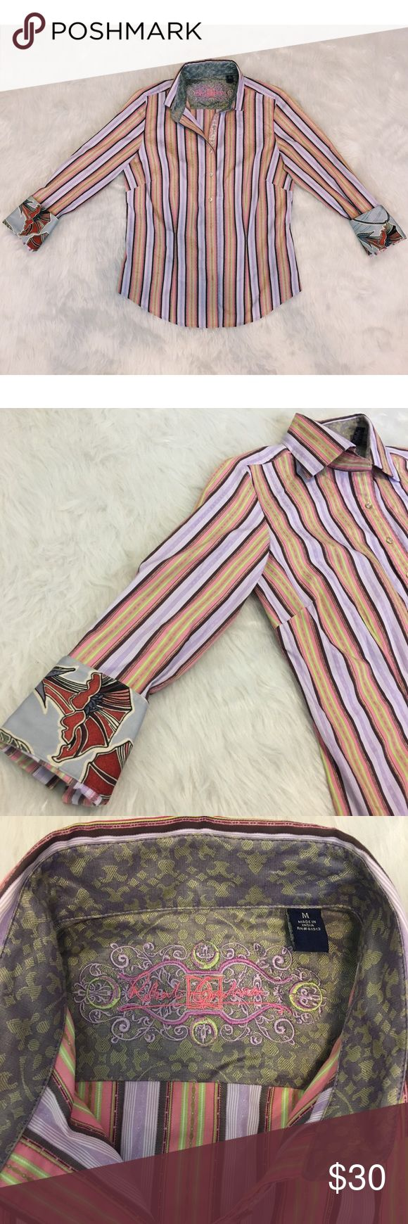 Robert Graham Striped colorful button down Gorgeous Robert Graham colorful striped button down shirt! Has some light blue and red floral cuffs on the sleeves and embroidery details by the buttons. The buttons also say Robert Graham on them! In great condition and would look stunning under a blazer! Size medium Feel free to ask questions or make an offer! :) Robert Graham Tops Button Down Shirts
