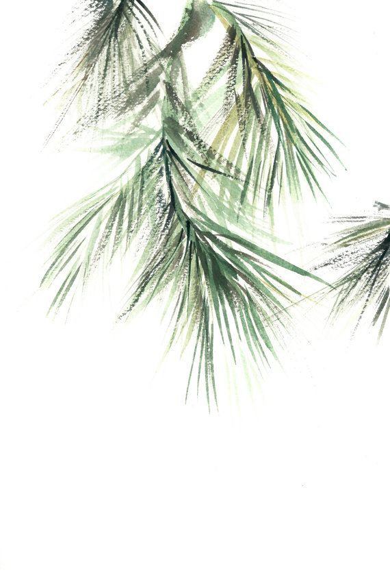 Minimalist Green Art Print, Pine tree brunch painting, Watercolor Print, Modern…
