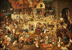Le Combat de Carnaval et de Carême de Pieter Bruegel dit l'Ancien 1559 © Kunsthistorisches Museum, Vienne Le Combat de Carnaval et de Carême est un tableau de Pieter Bruegel dit l'Ancien, l'un des maîtres de la peinture flamande de la Renaissance. Ce tableau représente une fête paysanne dans un village ou une petite ville. Ce type de scène de genre est très apprécié à l'époque et rappelle un peintre flamand antérieur, Jérôme Bosch.