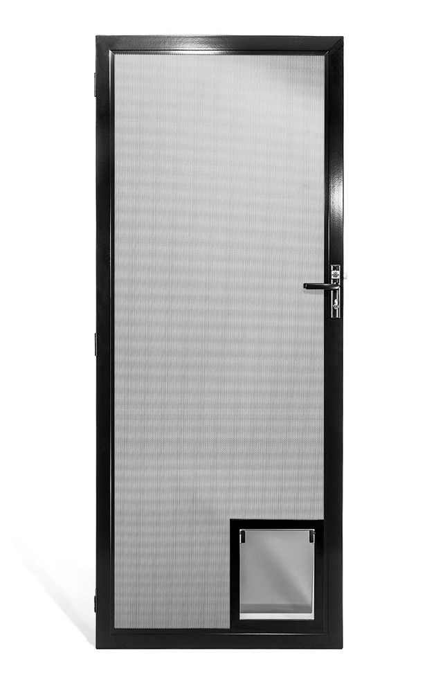 Prowler Proof security screen doors have many manufactured options. A solid panel is one of them. A solid panel can be any height you like. It can also be any colour you like – matched to the frame or black like the infill. Strength is not compromised in a solid panel door, the panel is made of 1.6 mm solid aluminium.