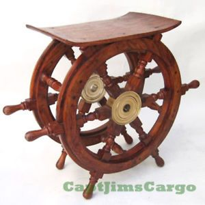 Ships Boat Steering Wheel End Table Teak Wood 20 Nautical Decor Furniture New
