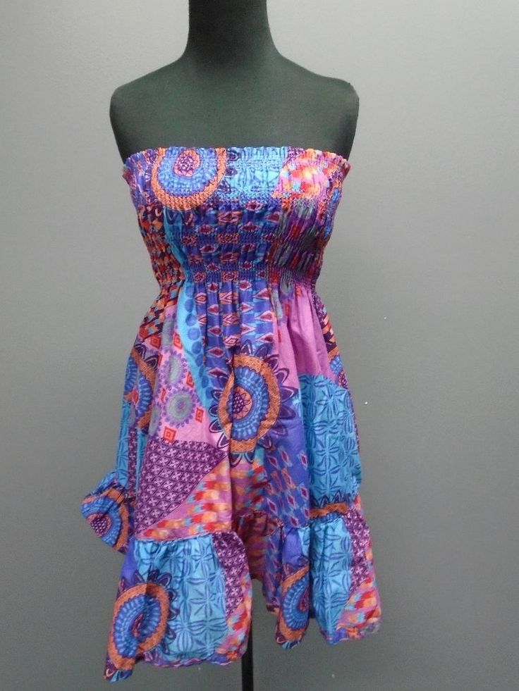 MODA INTERNATIONAL Blue N Pink 100% Cotton Multi Pattern Stretch Dress XS CC910 #ModaInternational #Sundress #SummerBeach