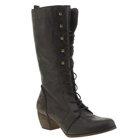 womens red or dead black maths boots