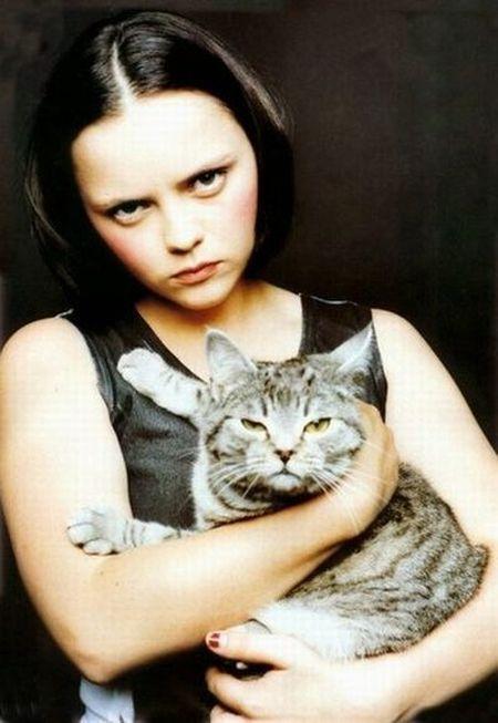 Christina Ricci...her cat looks kind of cranky, too!  LOL