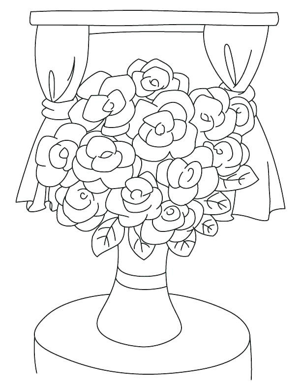 Coloring Pages Flower Coloring Flower Outline Coloring Page S Vase