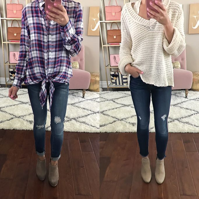 chunky knit sweater plaid tie front shirt ankle booties fall outfit, casual weekend outfit idea - click the photo for outfit details!