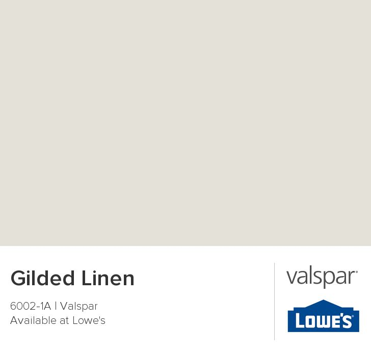 Gilded Linen from Valspar 6002-1A. Lowes Valspar pictures have this as 4 different shades of color. It has a green tone in store, better at home but probably too light.
