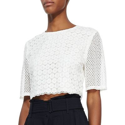 Alessandra Ambrosio style. A.L.C. Women's Fremont Lace Crop Top. View this product here http://wheresthatstyle.com/products/12377-a-l-c-women-s-fremont-lace-crop-top