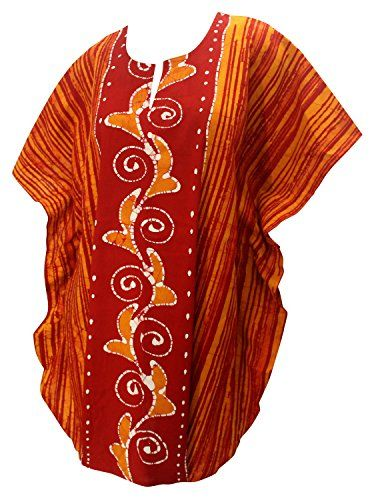 La Leela Pure Handmade Batik 100% Cotton Short Kimono Sleeve Caftan Dress Orange. Do YOU want COVER UPS in other colors Like Red   Pink   Orange   Violet   Purple   Yellow   Green   Turquoise   Blue   Teal   Black   Grey   White   Maroon   Brown   Mustard   Navy ,Please click on BRAND NAME LA LEELA above TITLE OR Search for LA LEELA in Search Bar of Amazon. US Size : From Regular 14 (L) TO Plus Size 18W (2X) ➤ UK SIZE : FROM REGULAR 14 (M) TO 22 (XL) ➤ BUST : 46 Inches [ 116 cms ]➤ Length…
