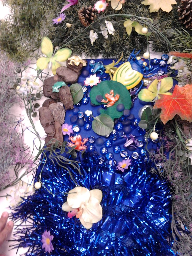 Small World Play: Fantasy Forest- Sparkly blue water with lily pads and frogs