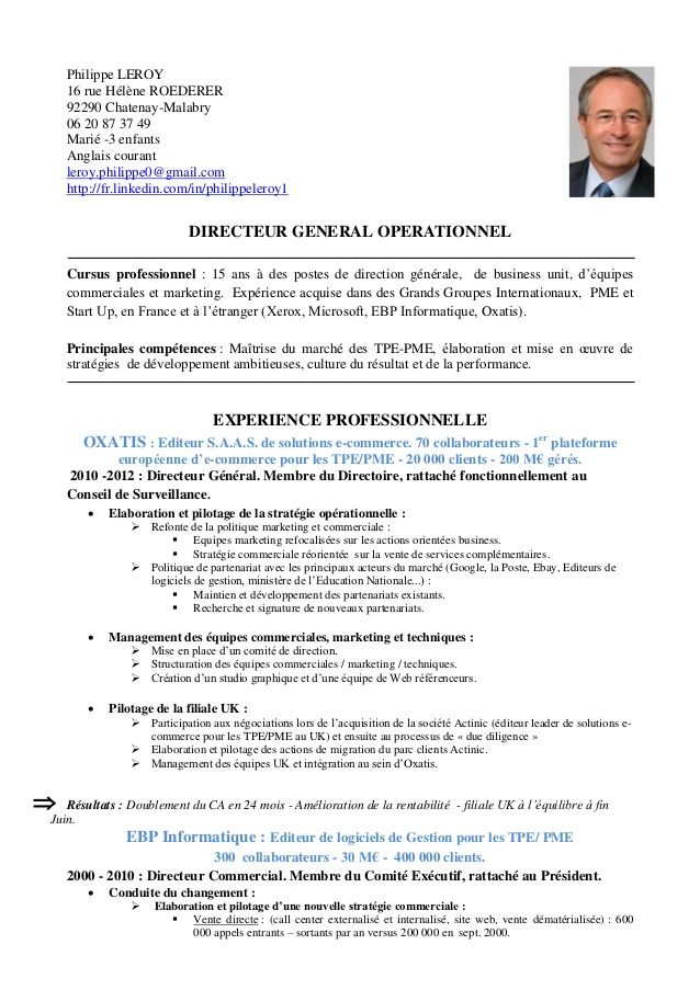 exemple cv directeur marketing