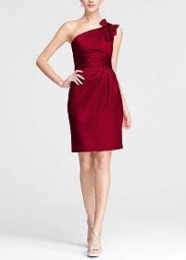 Satin One Shoulder Dress with Ruched Waist - Persimmon