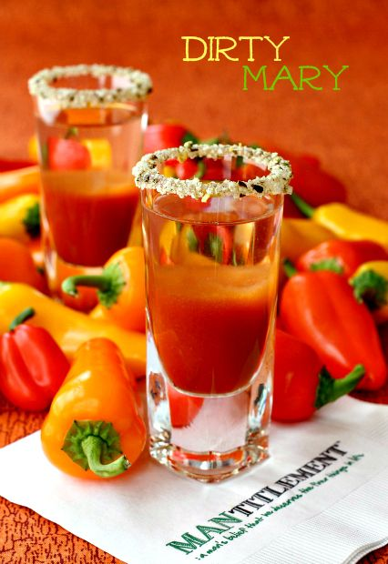 Dirty Mary Shots   (1 oz. V8 Bloody Mary mix 1 oz. Hornitos Lime Shot Tequila Jalapeño salt   Lime wedges)