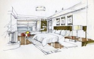 Bedroom interior design sketches