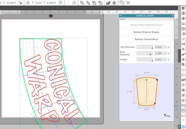 Silhouette Studio V4.1, conical wrap, warp designs for tumblers silhouette cameo vinyl