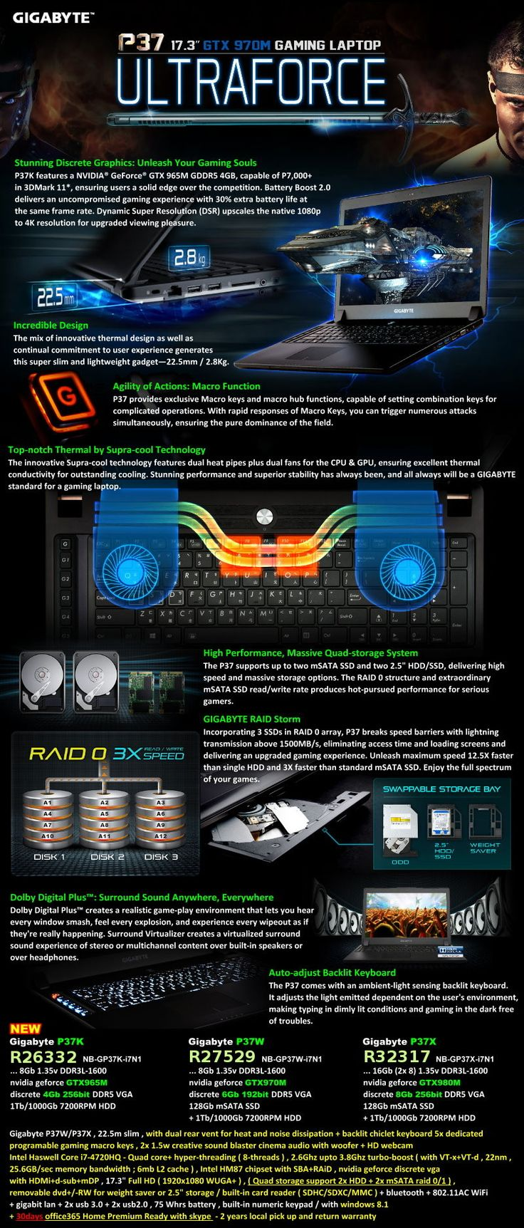 Gigabyte 9WP37W003-ZA-A-001- P37W , 22.5m slim , with dual rear vent for heat and noise dissipation + backlit chiclet keyboard , 5x dedicated programable gaming macro keys , 2x 1.5w creative sound blaster cinema audio with woofer + HD webcam- intel Haswe