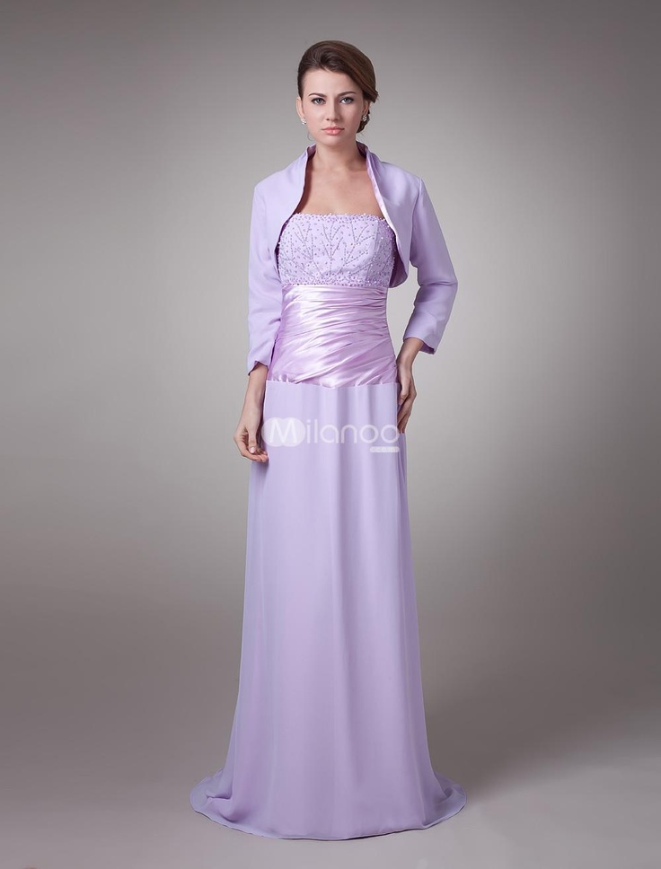 Attractive Light Purple Chiffon Mother of The Bride Dress. This gorgeous gown is what most people think of when they think about Mother of the Bride dresses. Its made in a traditional sheath style with a sleeveless bodice with a pretty lace overlay. The midsection of the dress .. . See More Mother of the Bride Dresses at http://www.ourgreatshop.com/Mother-of-the-Bride-Dresses-C928.aspx