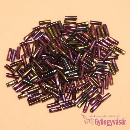 Ametiszt AB, 7 mm-es csavart cseh szalmagyöngy (10 g)